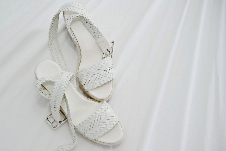 white bridal shoes at a wedding in amorgos