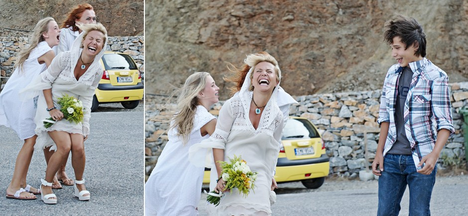 bride laughing walking for the ceremony in amorgos
