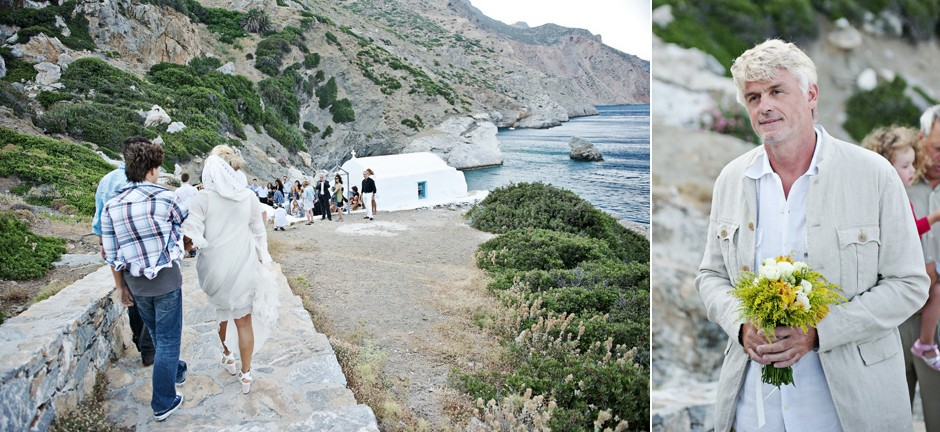 bride and groom for a wedding at st Anna chapel in amorgos