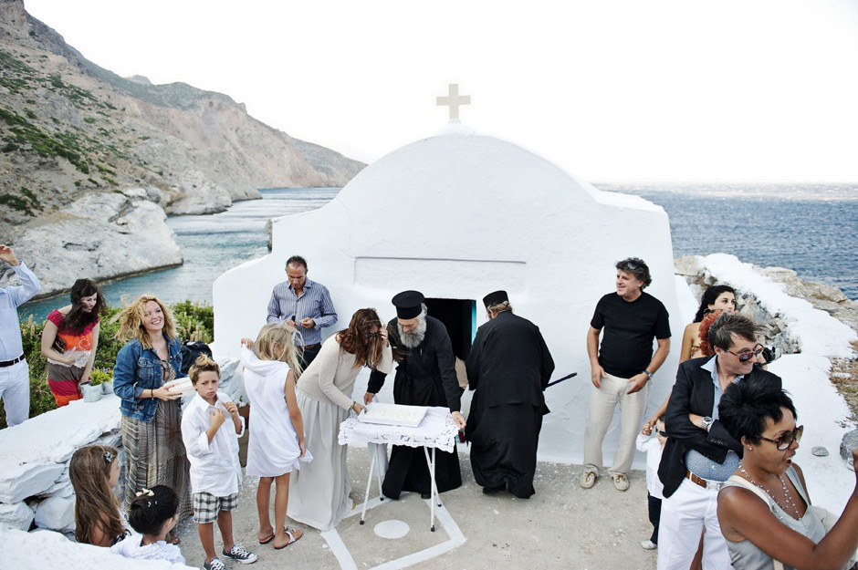 guests waiting for the bride in saint Anna chapel in amorgos