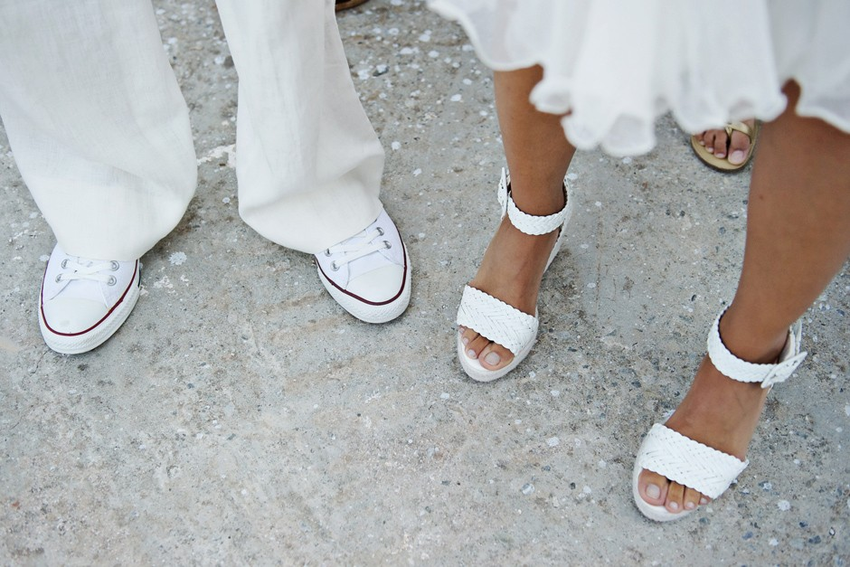 bride and groom white shoes