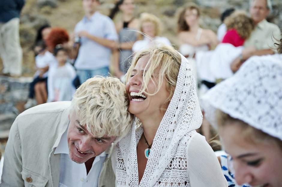 bride and groom look very happy in amorgos wedding ceremony