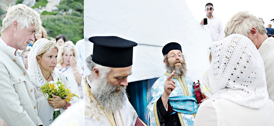 priest groom and bride in amorgos wedding
