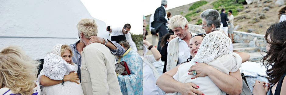 wedding guest hug the couple In amorgos