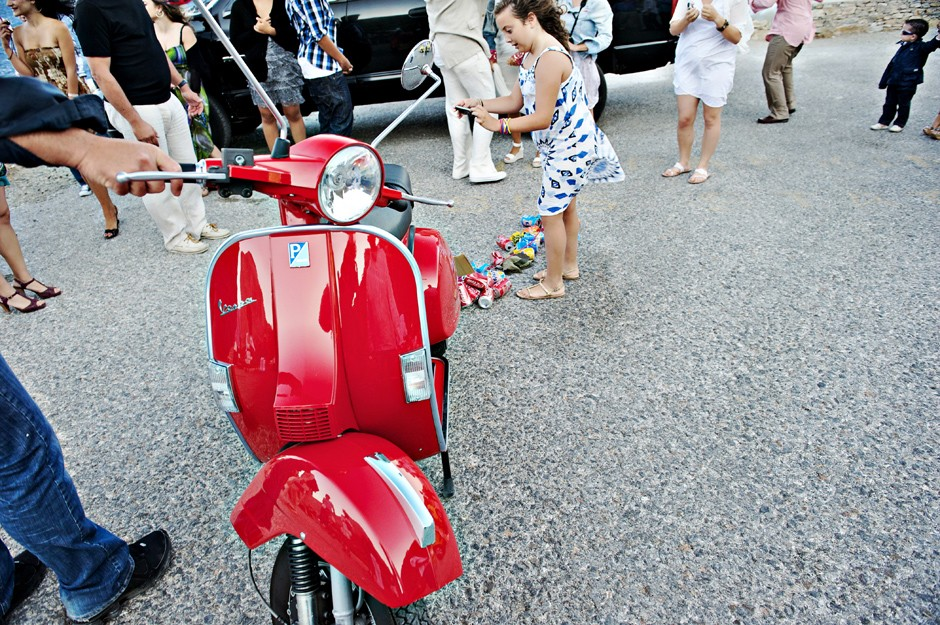 red vespa for a wedding in amorgos