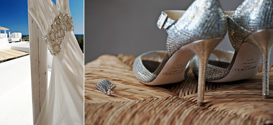 wedding shoes and dress in mykonos