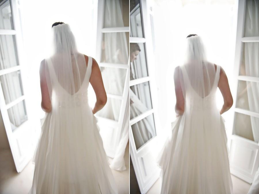 bride with her wedding dress in mykonos wedding