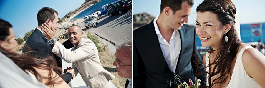 groom meet the bride in mykonos wedding