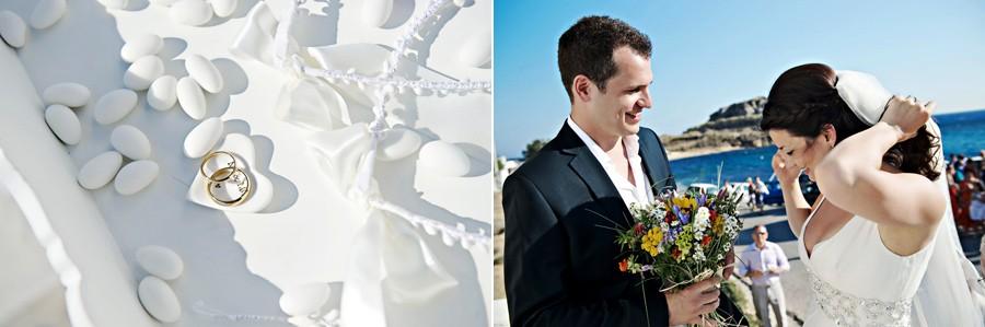 the wedding ceremony start in mykonos white chapel
