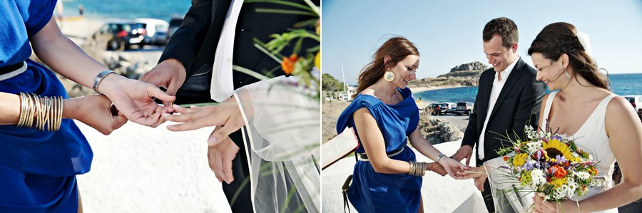 ring exchange in mykonos wedding