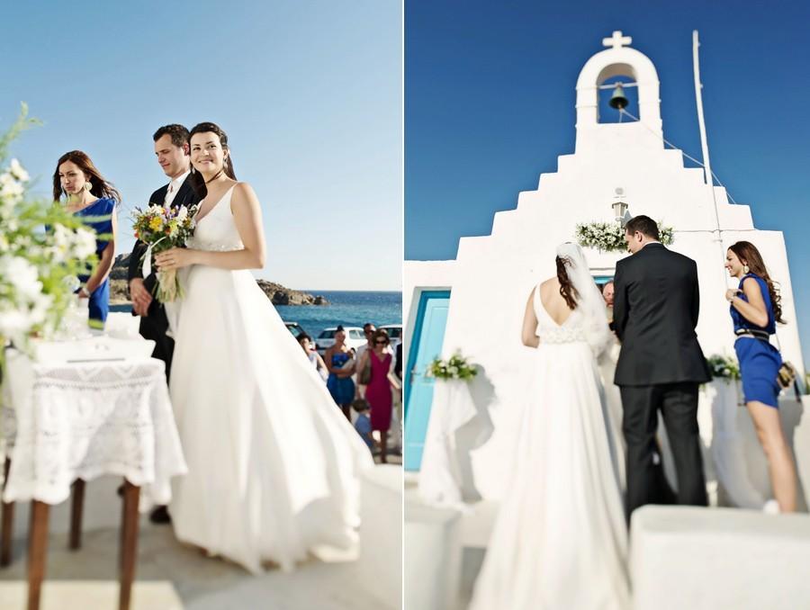 couple in white chapel mykonos wedding