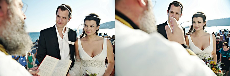 priest blessing the couple in mykonos