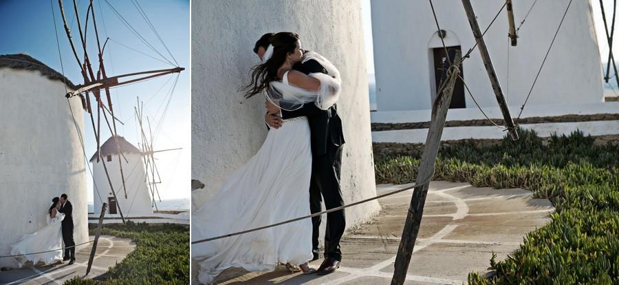 mykonos windmills wedding photo