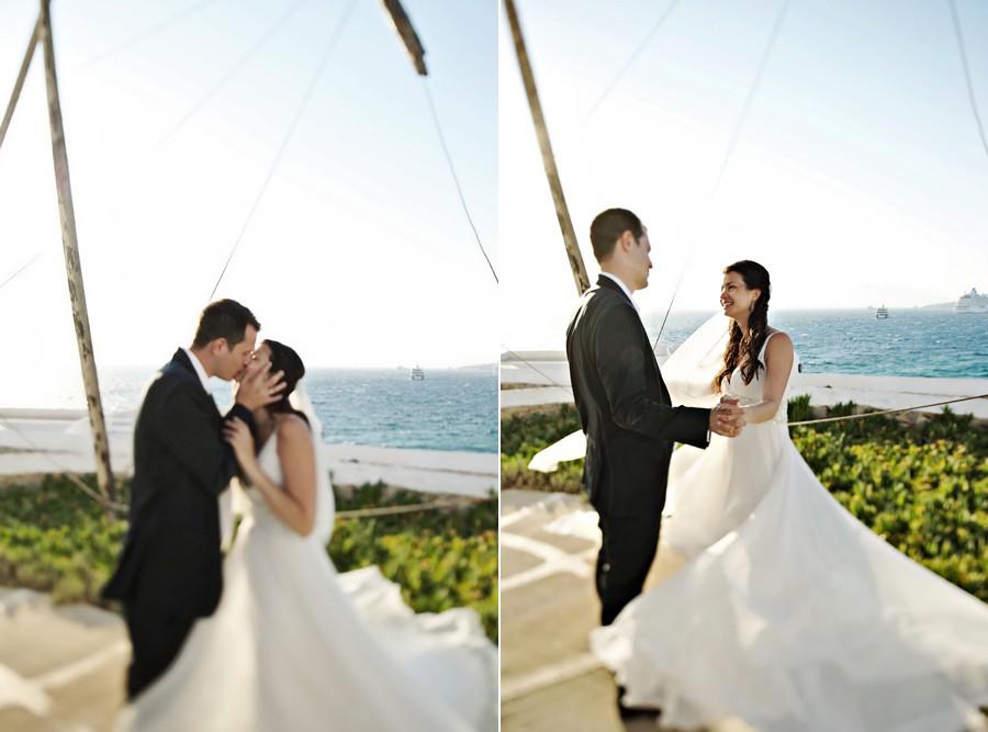 wedding couple dancing in mykonos windmills