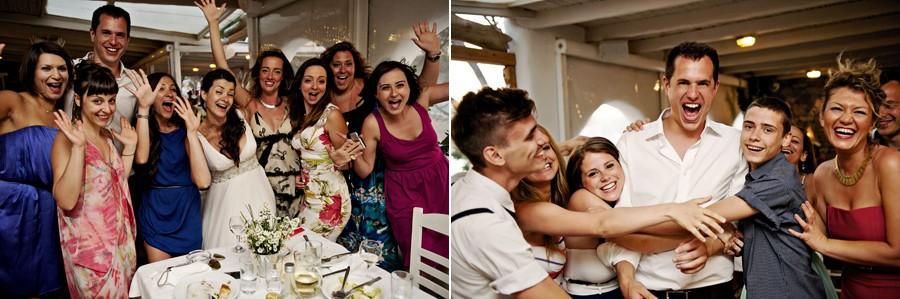 bridal party in mykonos wedding