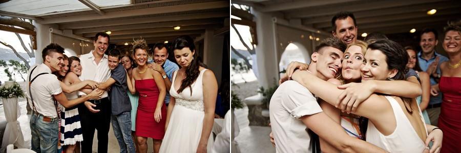 wedding guests in mykonos wedding party
