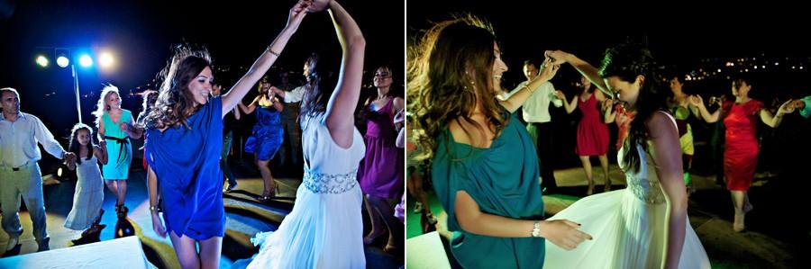 bride dancing in mykonos wedding party
