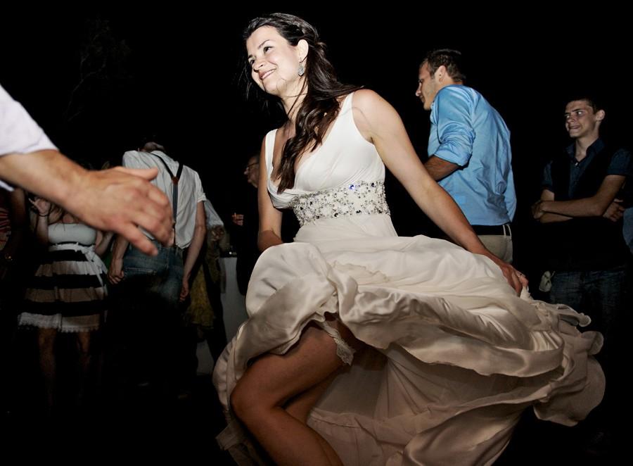 bride dancing on her mykonos wedding