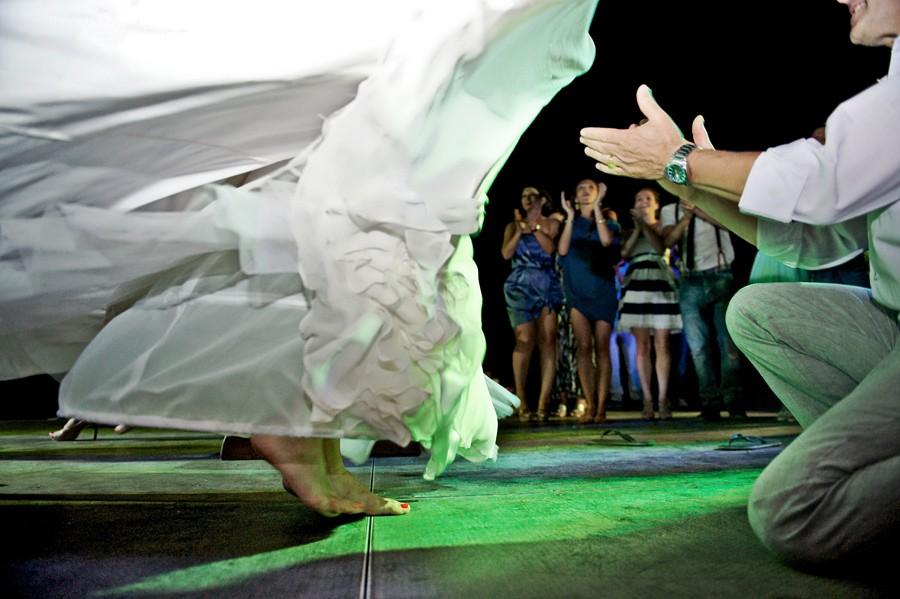 bride dancing barefoot in mykonos wedding