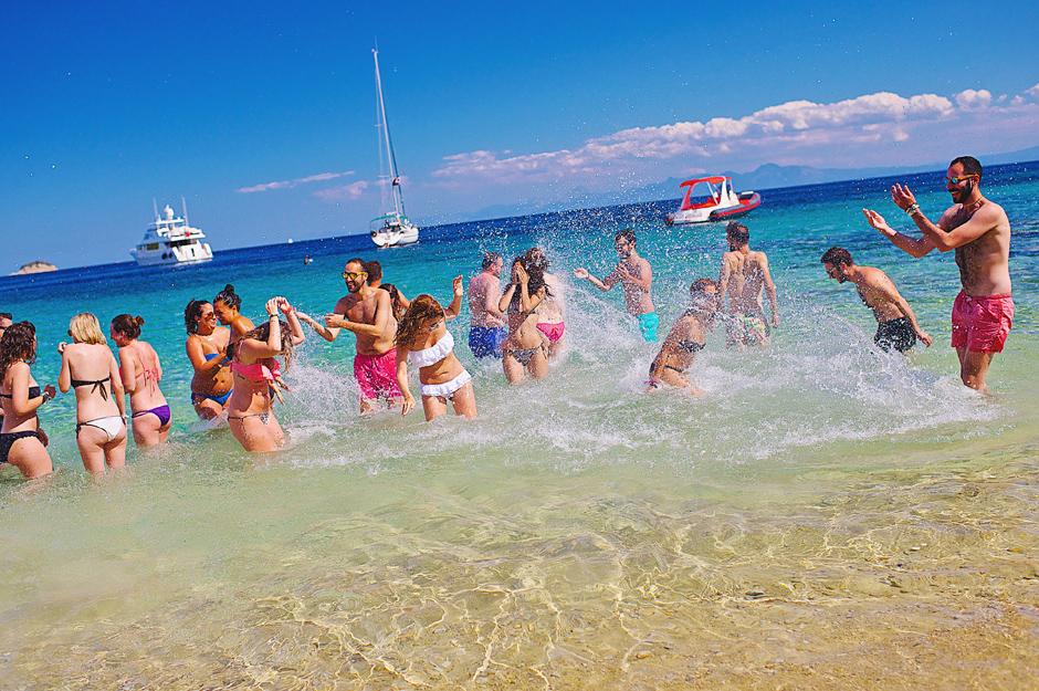 skiathos wedding party beach