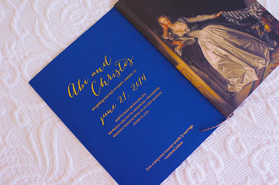 corfu wedding invitation