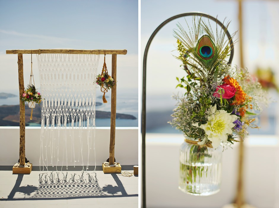 santorini elopement decoration photos