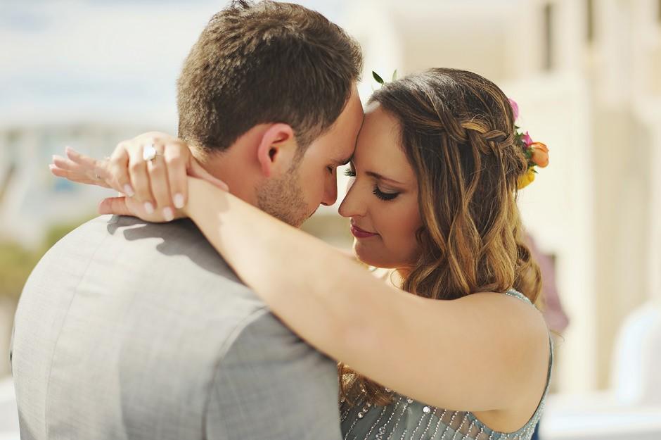 santorini elopement first dance photos