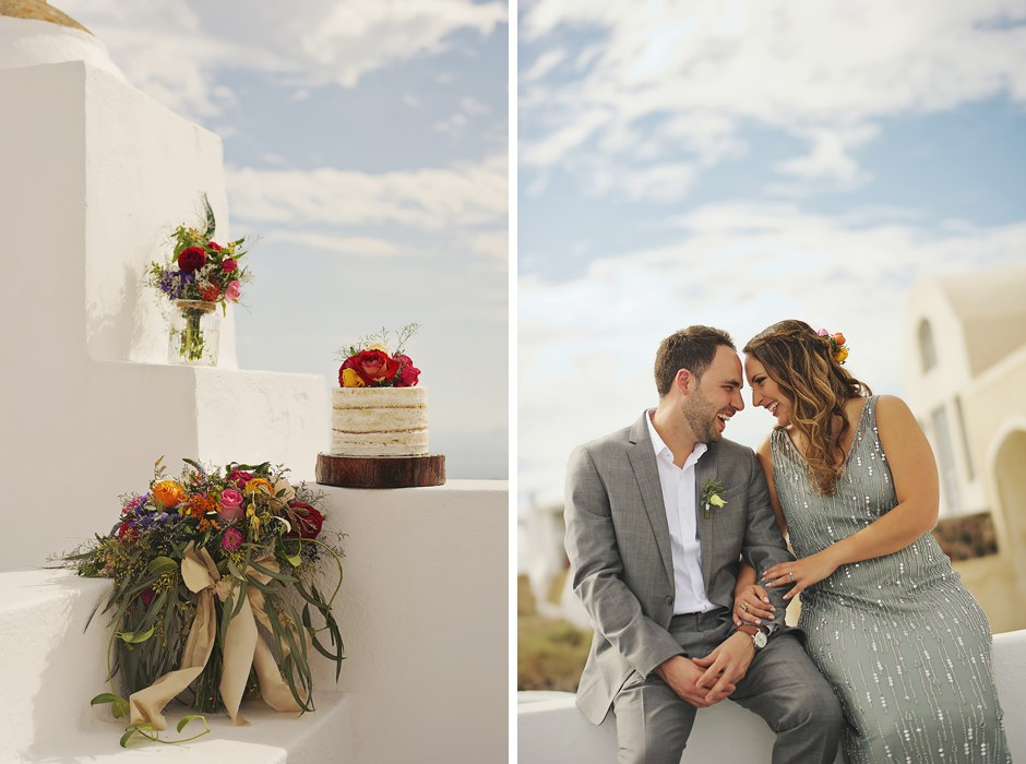 santorini elopement cake photos