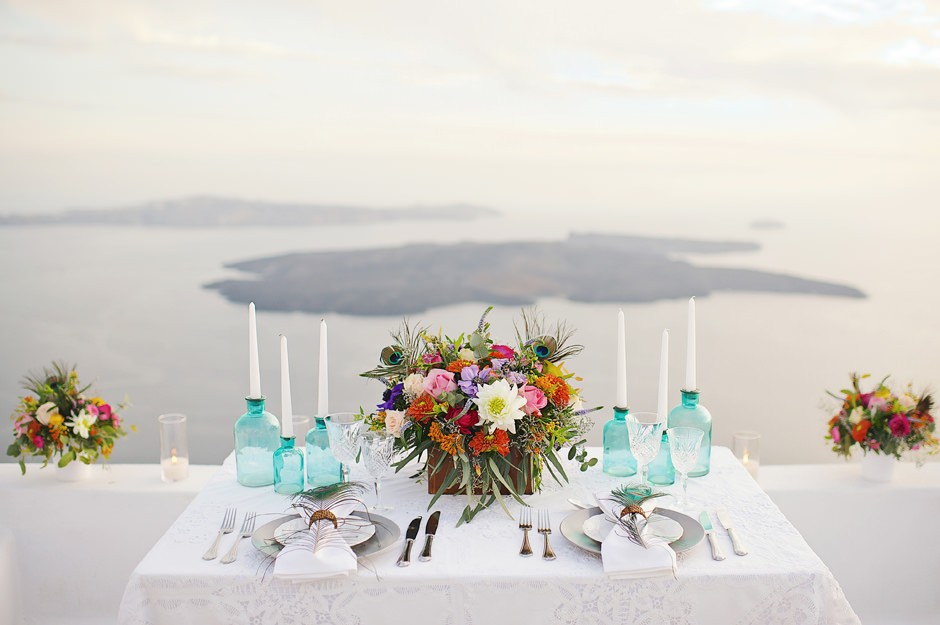 santorini elopement dinner photos