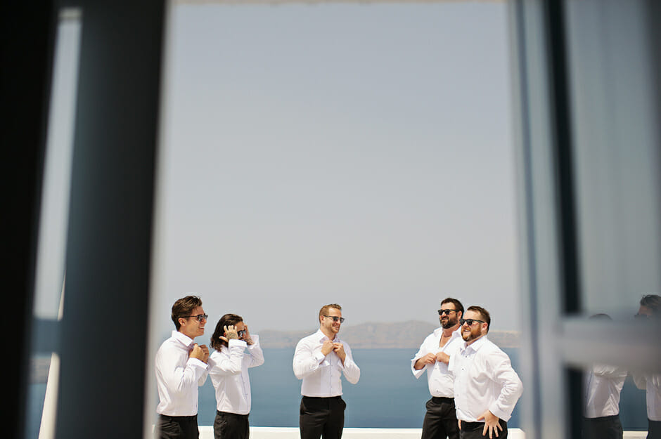 groom with groomsmen in le ciel santorini wedding