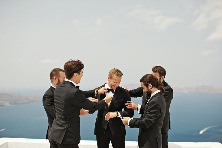 groom with groomsmen in le ciel santorini