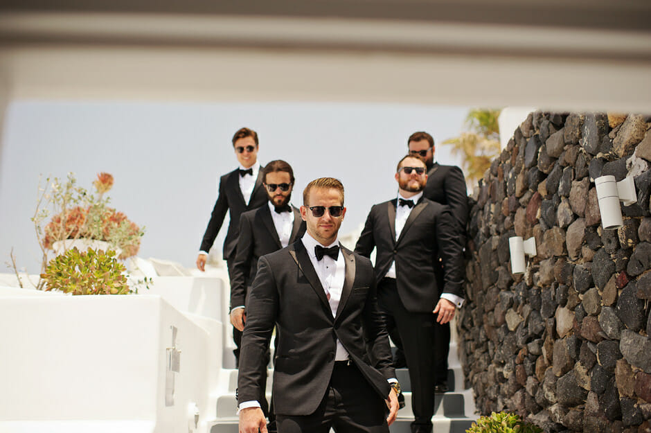 groom walking to wedding ceremony le ciel santorini