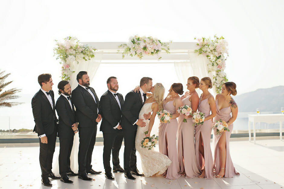 bridal party photo in le ciel santorini wedding