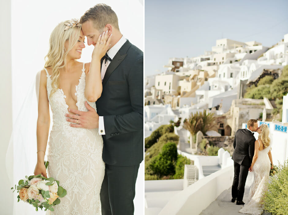 newlyweds kiss in le ciel santorini