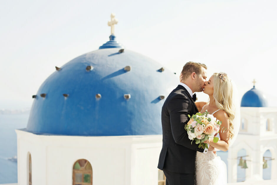 blue dome santorini wedding