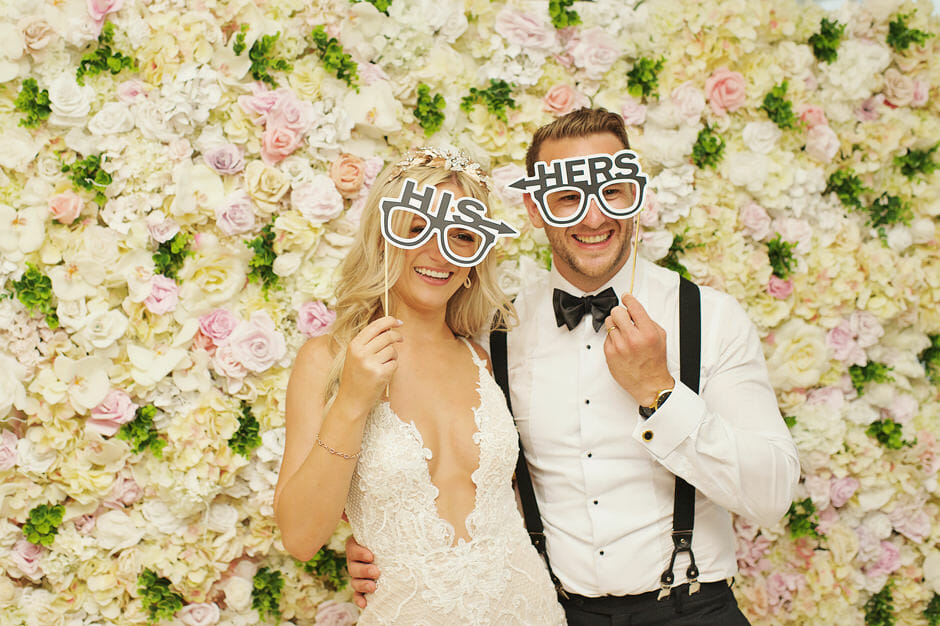 bride and groom photo booth photos  in le ciel santorini wedding