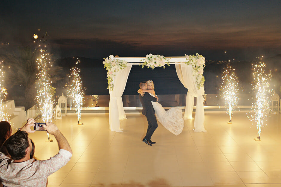 wedding fireworks in le ciel santorini