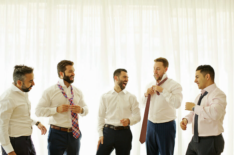 groom with groomsmen in athens riviera wedding