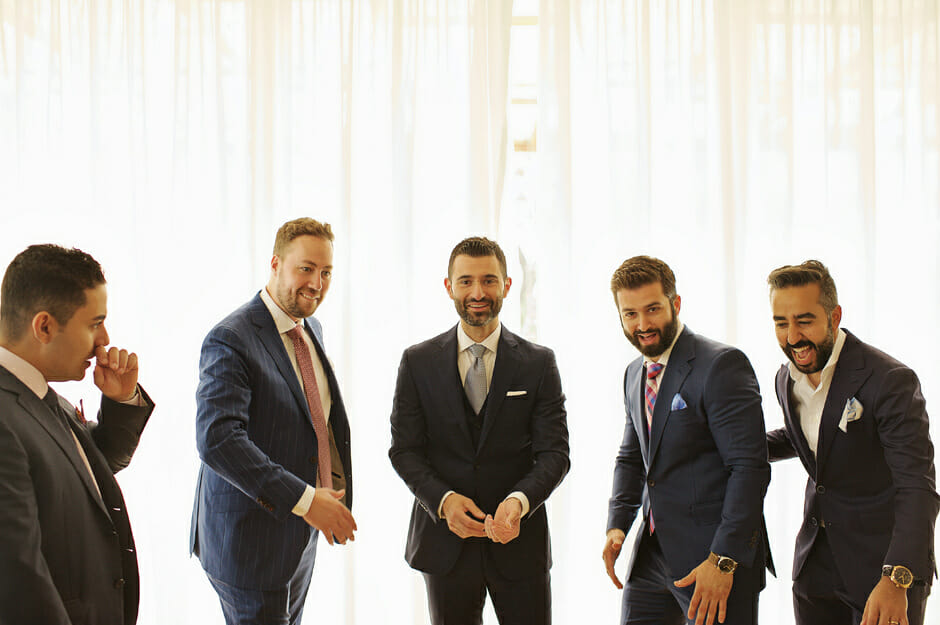 groomsmen with groom in athens riviera wedding