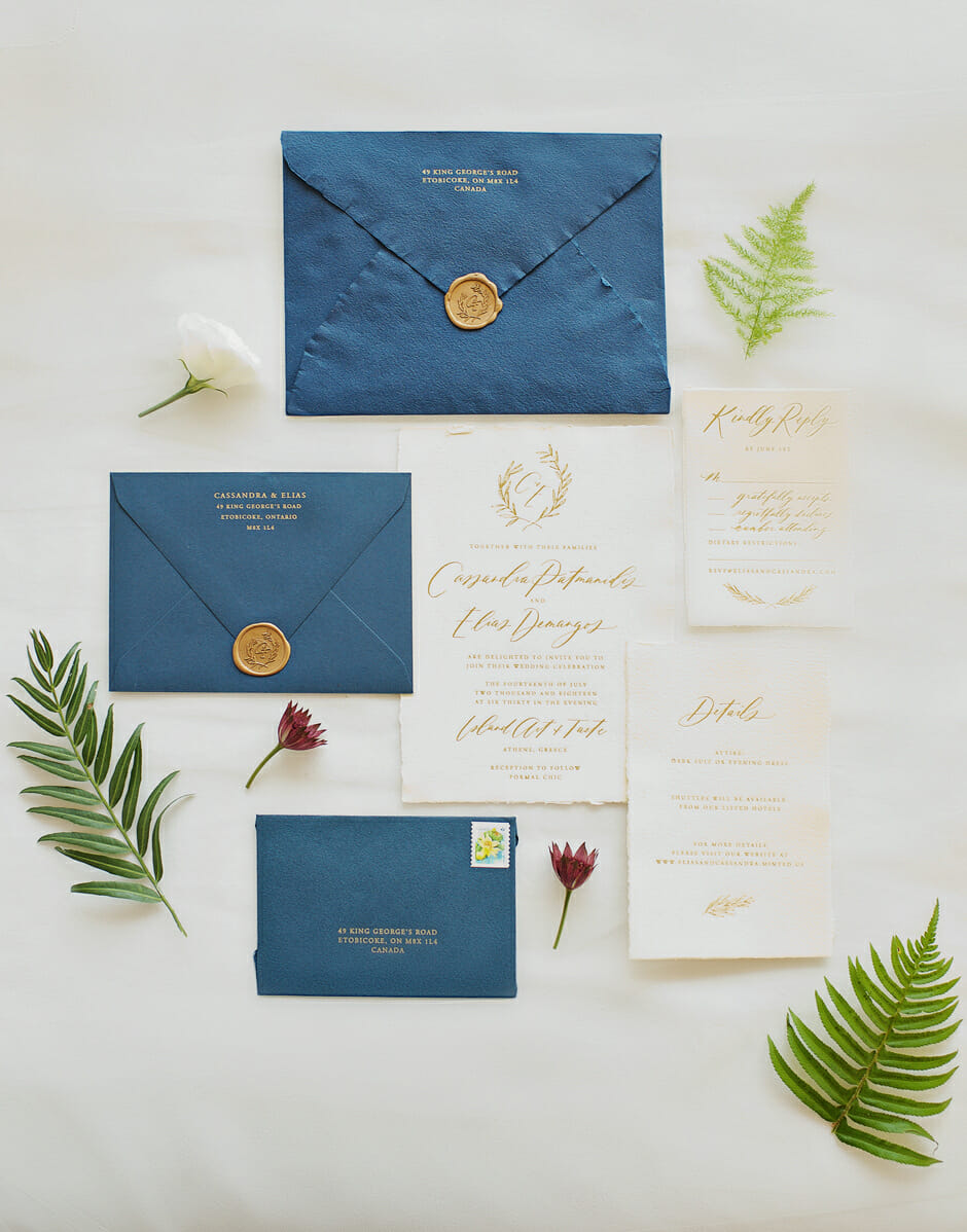 wedding invitations in athens riviera wedding