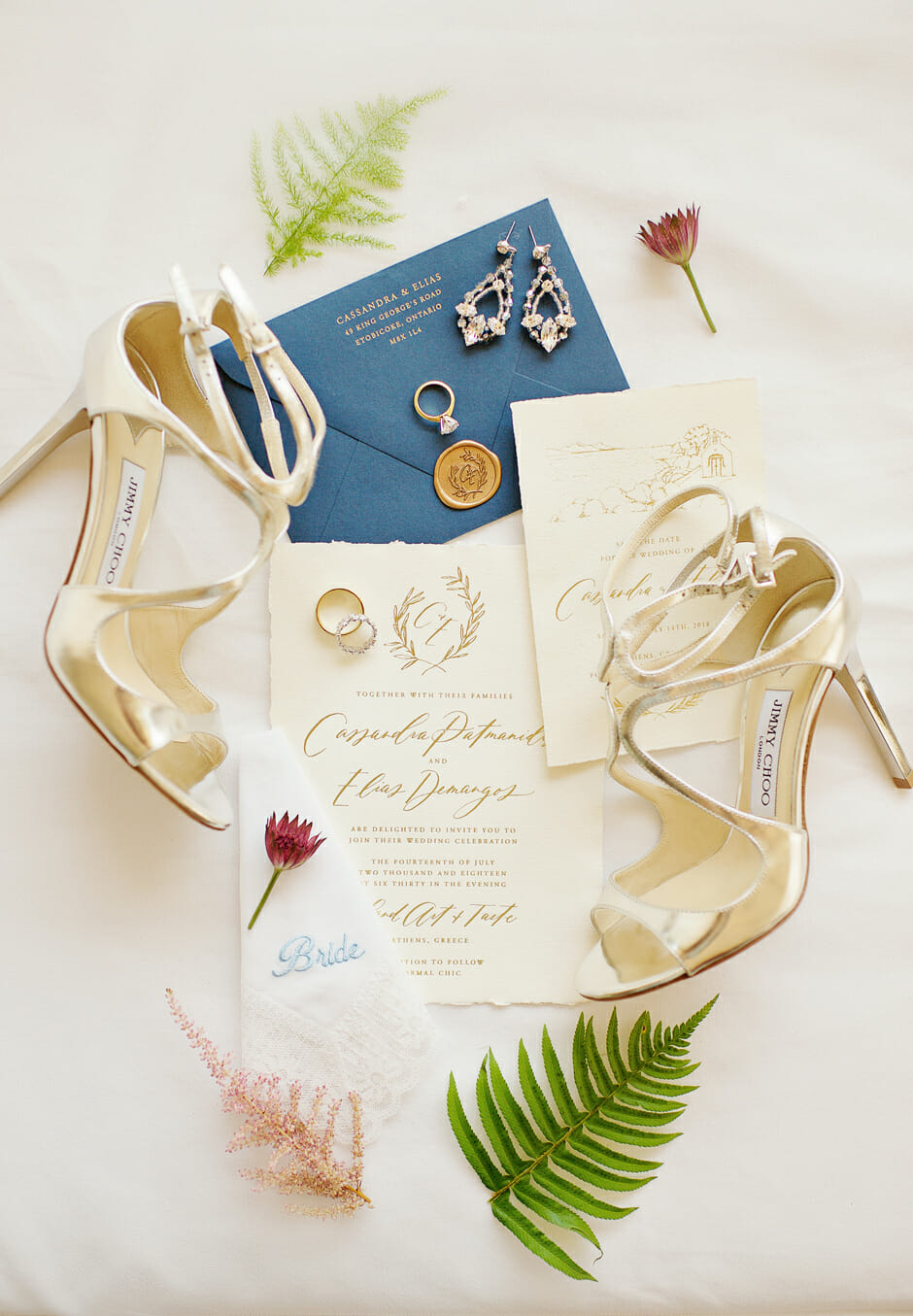 jimmy Choo show with wedding stationery in athens riviera wedding