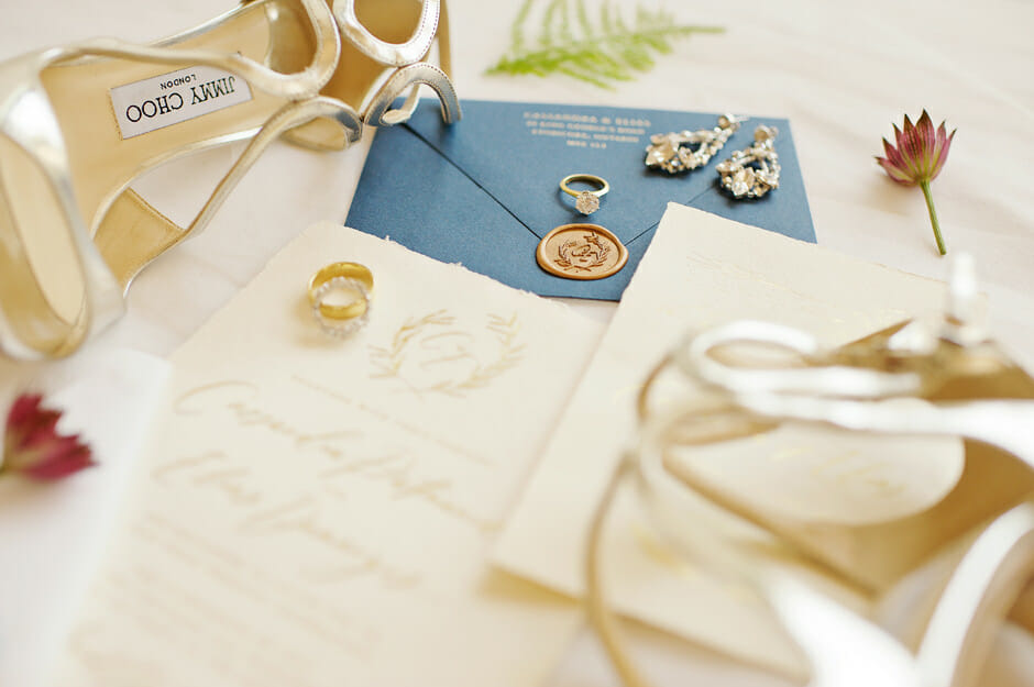 wedding invitation photo with wedding rings