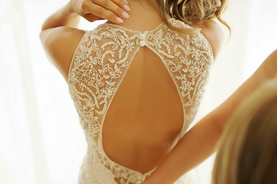 close up photo of the wedding dress in Villa Casa del Mare