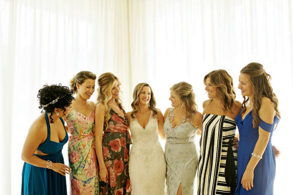 bride with bridesmaids in Villa Casa del Mare
