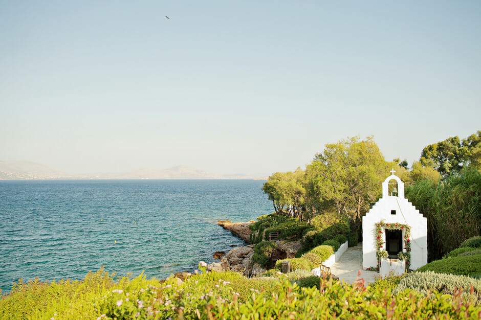 white chapel in island athens riviera
