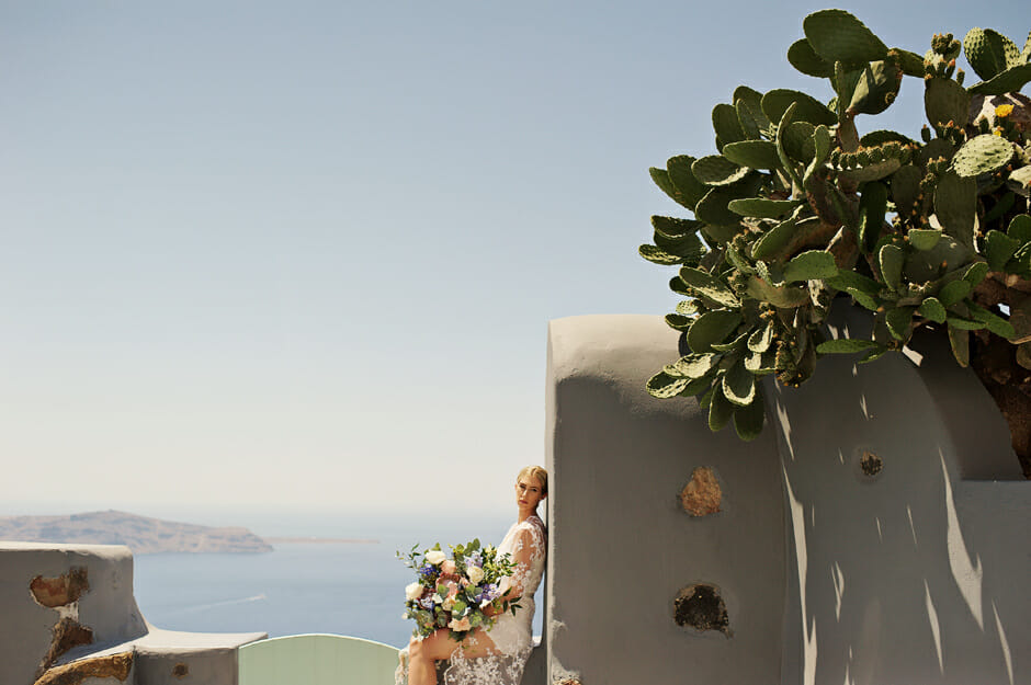 bridal portrait with bouquet in remezzo santorini elopement