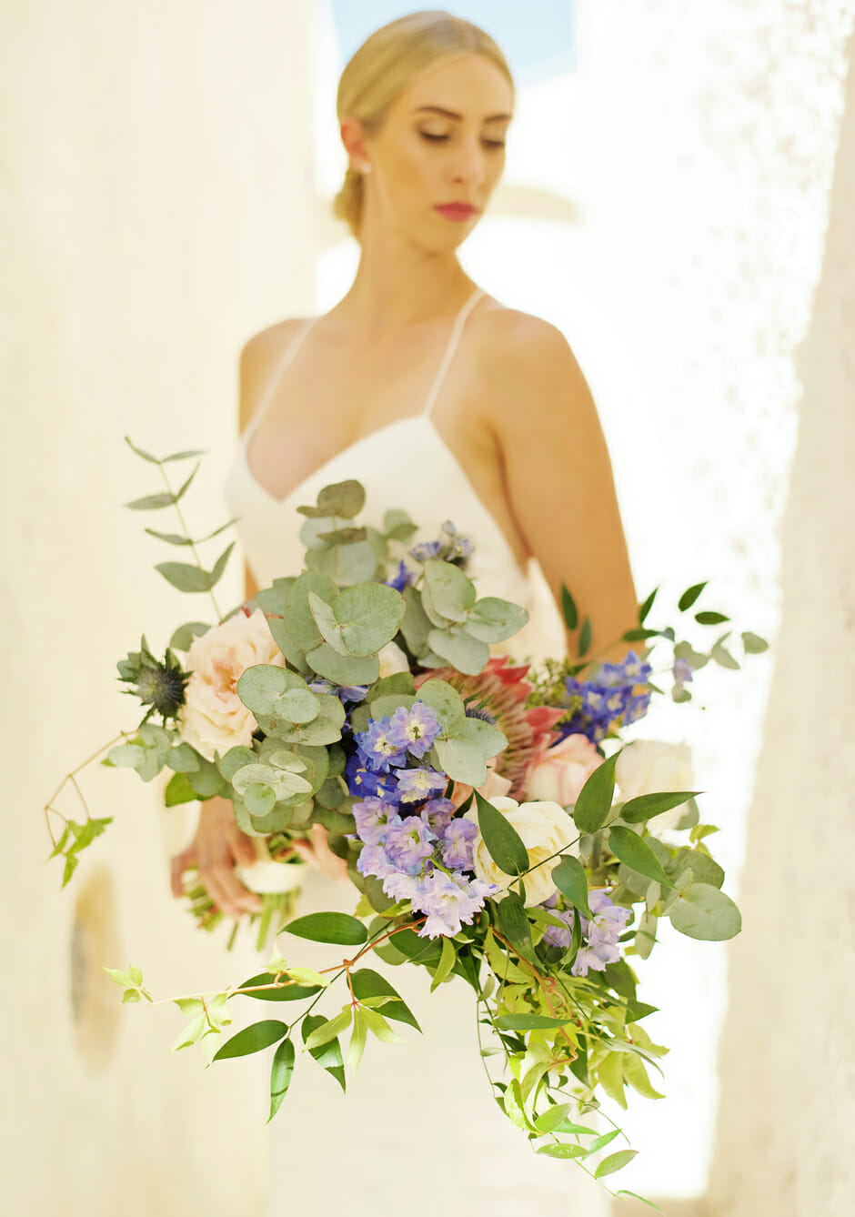 bridal portrait with bouquet santorini elopement