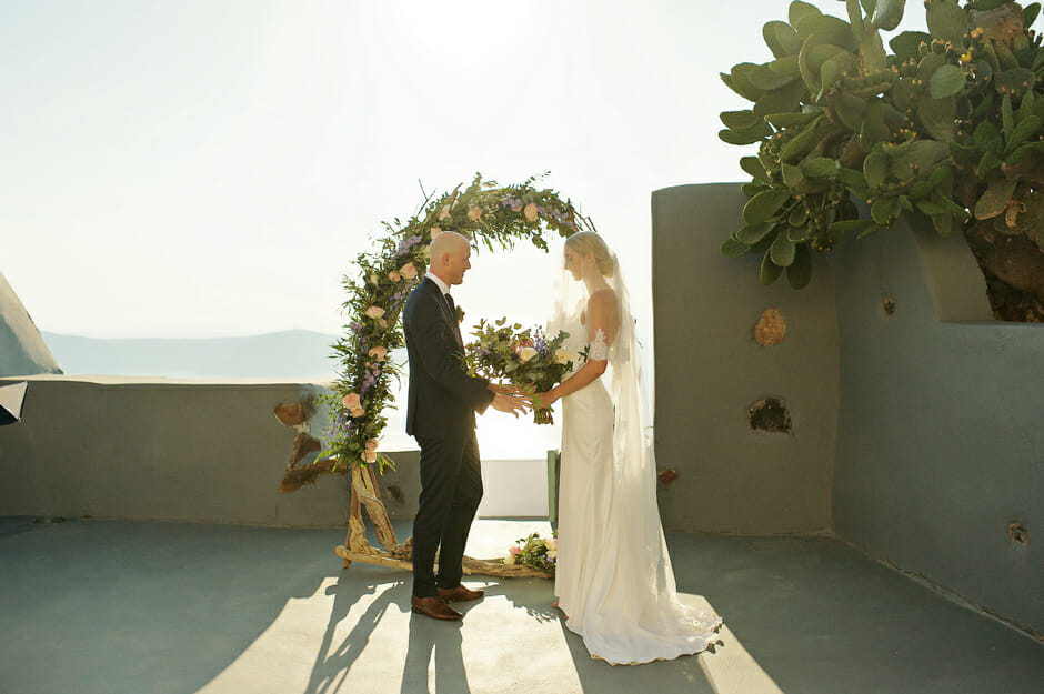 elopement ceremony in santorini