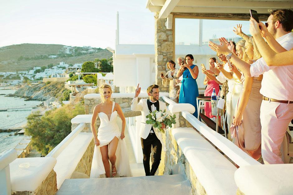 bride and groom entrance at wedding reception in mykonos
