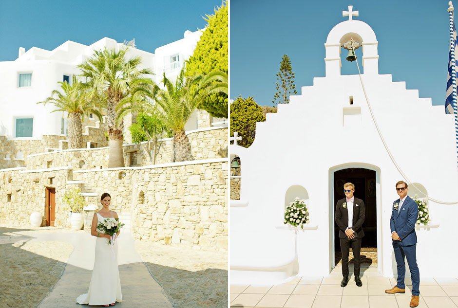 bride and groom on their elopement in mykonos